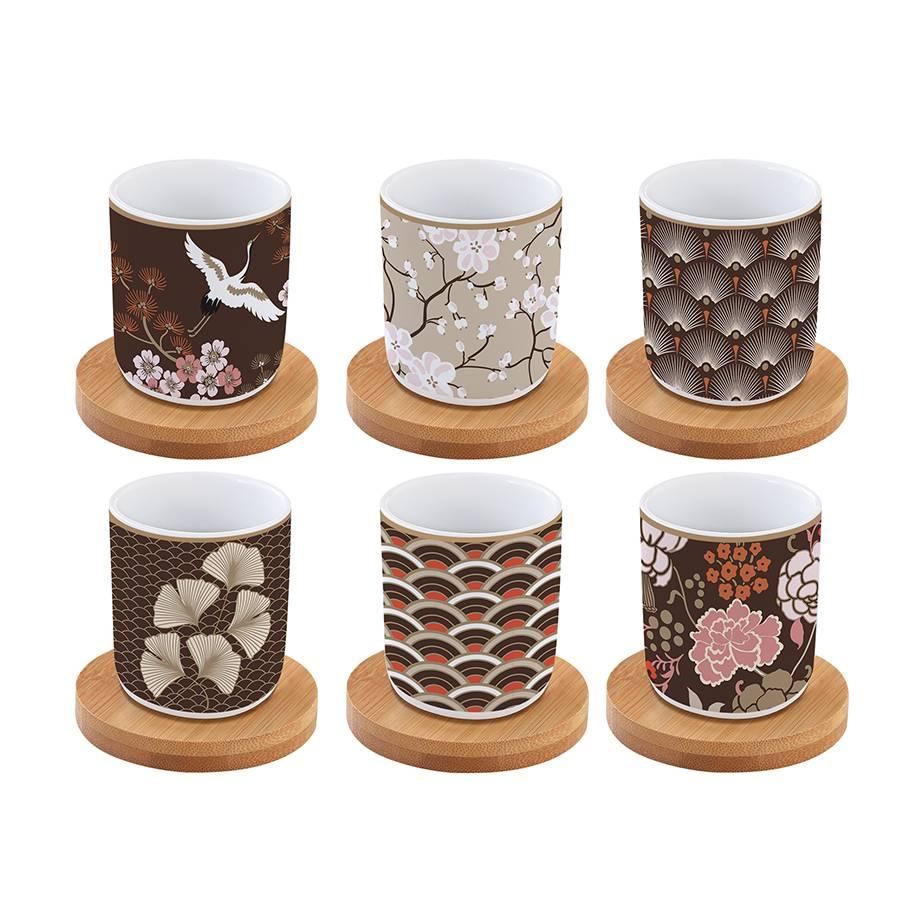 סט 6 כוסות ותחתיות אספרסו   JAPANESE